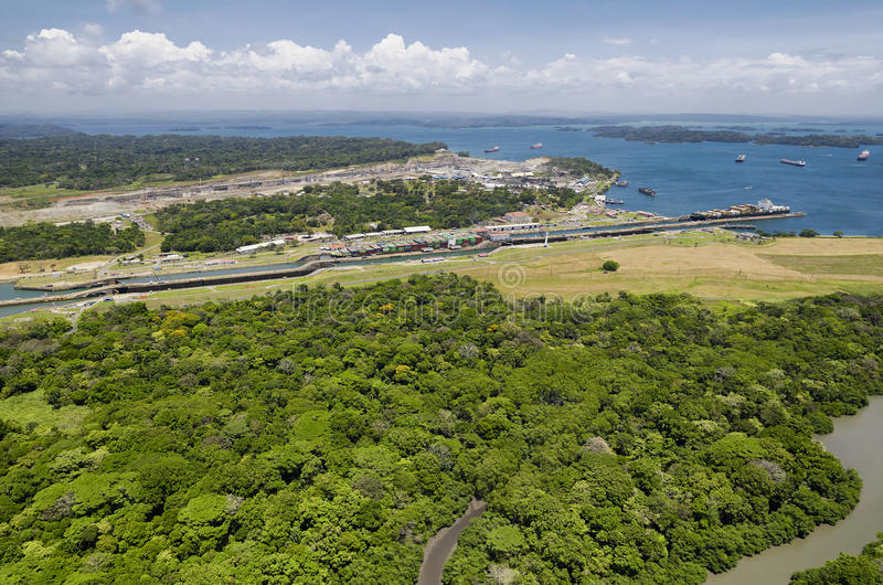 Panoramic aerial view of Gatun Locks with cargo ships passing through, royalty free stock photo