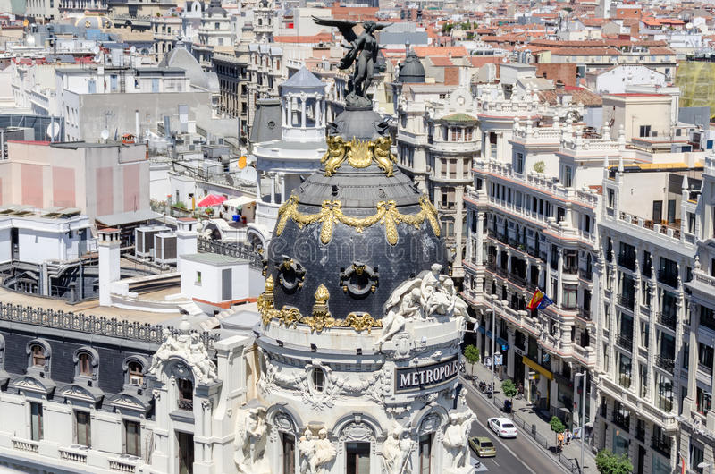 Panoramic aerial view of Gran Via, main shopping street in Madrid stock image
