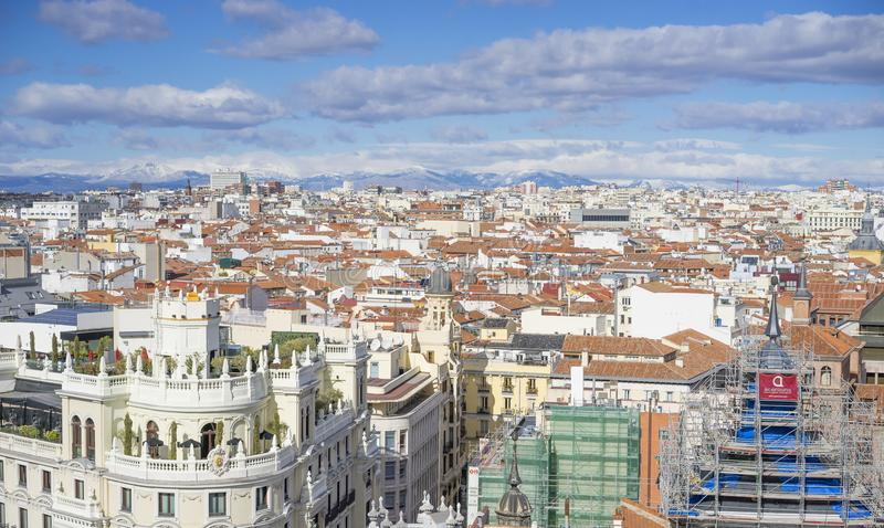 Panoramic aerial view of Gran Via, main shopping street in Madrid, capital of Spain, Europe. royalty free stock photography