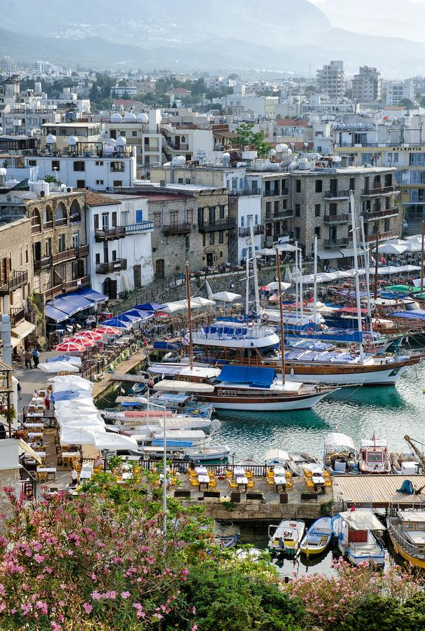 Panoramic aerial view of historic harbour in Kyrenia Girne , North Cyprus stock photography
