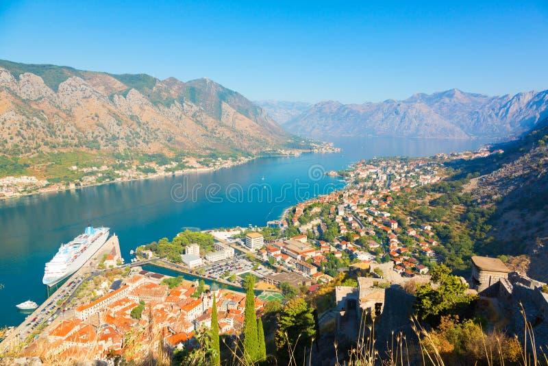 Panoramic aerial view of Kotor and Boka Kotorska bay, Montenegro. Beautiful landscape town of Kotor in Montenegro. Panoramic aerial view of Kotor and Boka stock photos
