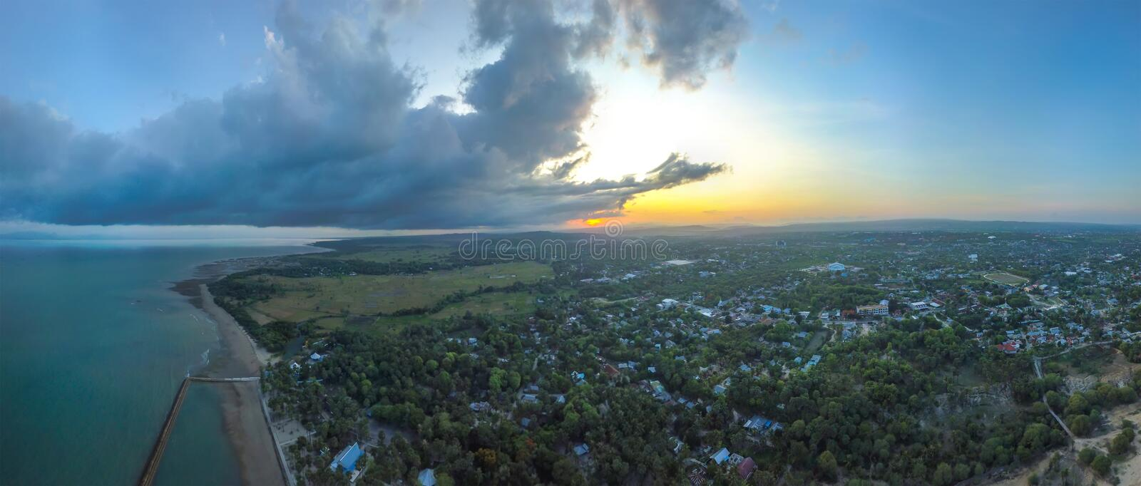 Panoramic Aerial view of Kupang, Indonesia. Kupang is a part of the Timor-Leste Indonesia Australia growth Triangle free trade Zone royalty free stock photography