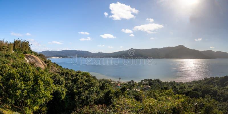 Panoramic aerial view of Lagoa da Conceicao - Florianopolis, Santa Catarina, Brazil. Panoramic aerial view of Lagoa da Conceicao in Florianopolis, Santa Catarina royalty free stock photos
