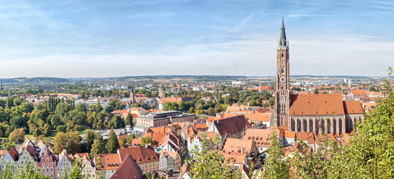 Panoramic aerial view of Landshut royalty free stock photography