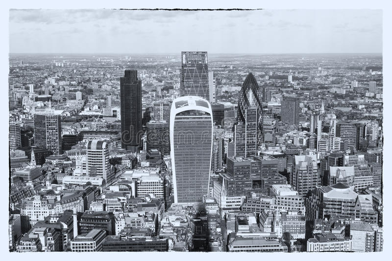 Panoramic aerial view of London - monochrom version stock images