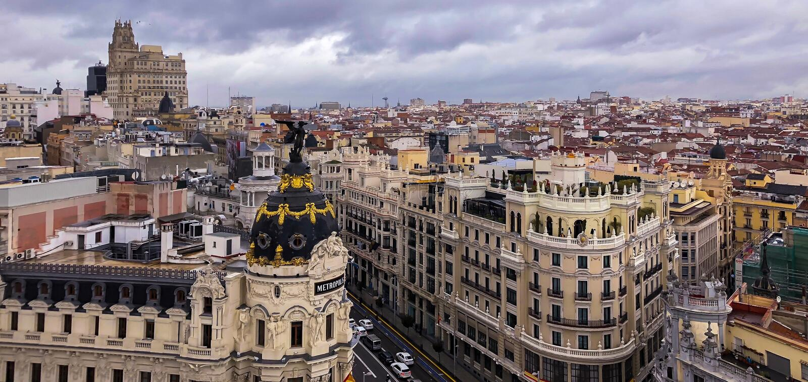 Panoramic Aerial view of Madrid royalty free stock images