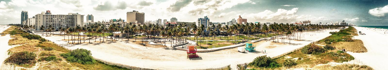 Panoramic aerial view of Miami Beach and Ocean Drive on a beautiful day stock photos