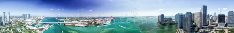 Panoramic aerial view of Miami at sunset stock photo