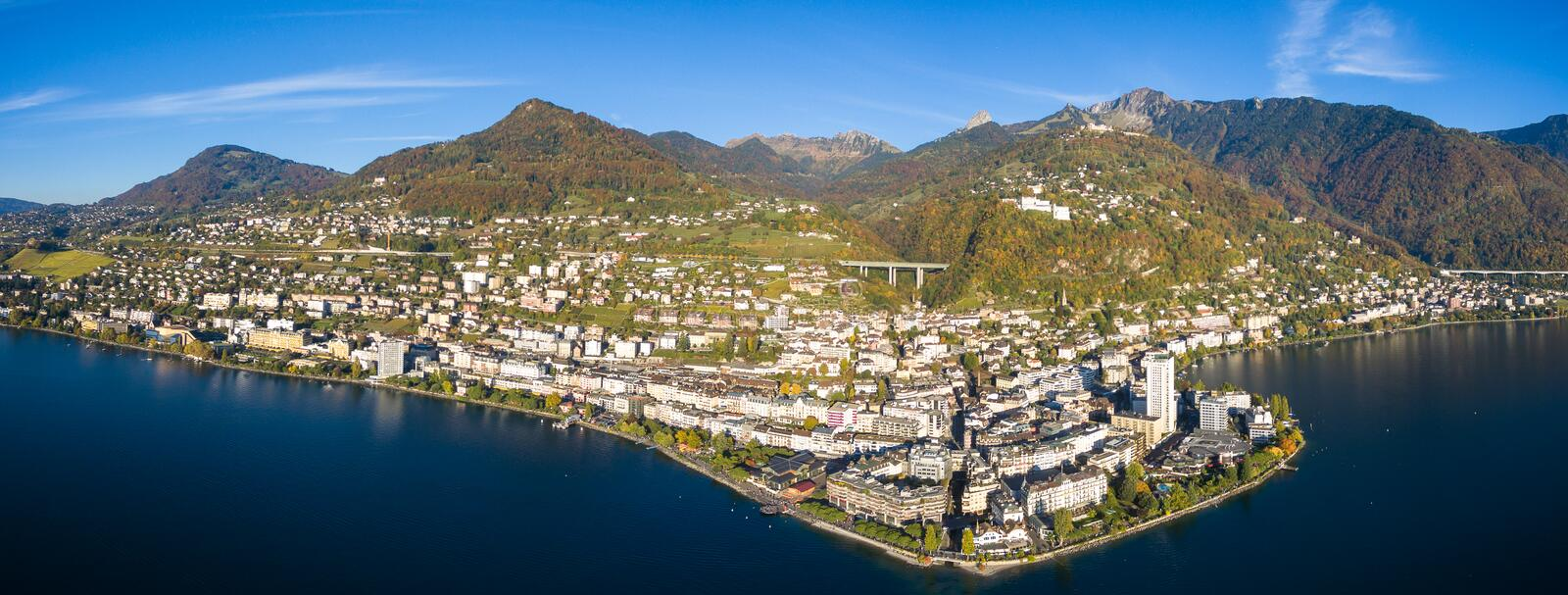 Panoramic Aerial view of Montreux waterfront, Switzerland. Panoramic Aerial view of Montreux waterfront Switzerland royalty free stock photo