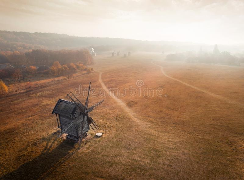 Panoramic aerial view of the National Museum of Folk Architecture and Life of Ukraine Pirogovo in the fall, Kiev royalty free stock photography