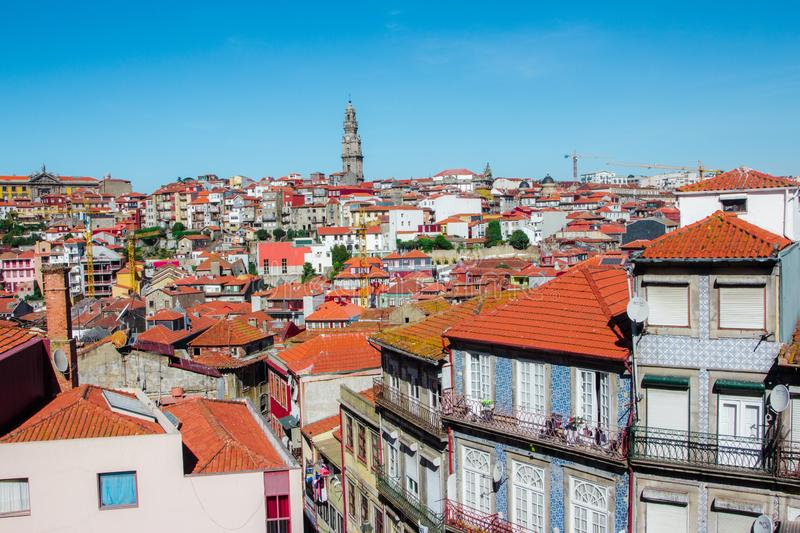 Panoramic aerial view of Old Town Porto in a beautiful autumn day, Portugal, Porto stock photo