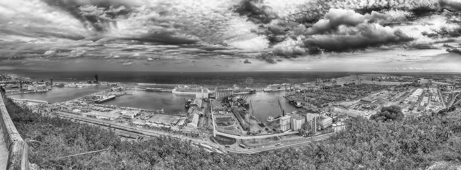 Panoramic aerial view over the Port of Barcelona, Catalonia, Spa stock photos