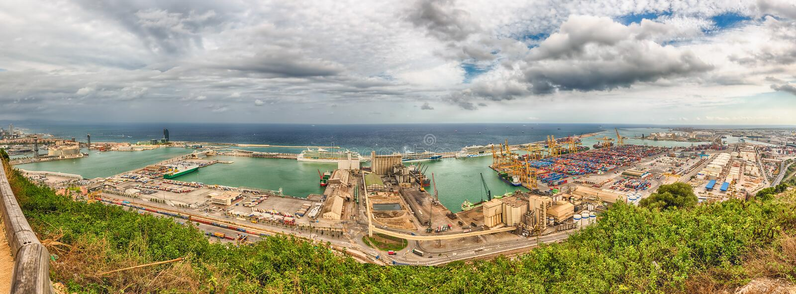 Panoramic aerial view over the Port of Barcelona, Catalonia, Spa stock photo