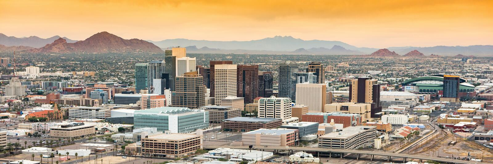 Panoramic aerial view over Downtown Phoenix, Arizona royalty free stock image