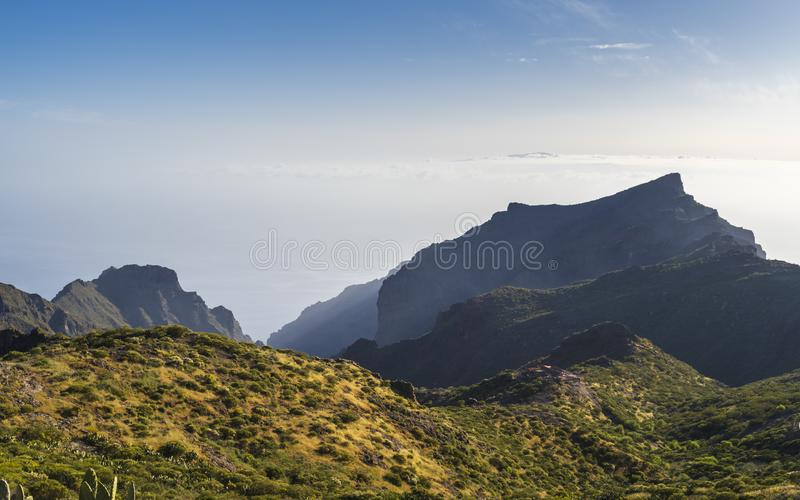 Panoramic aerial view over Masca village, the most visited tourist attraction of Tenerife stock photo
