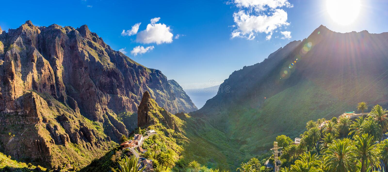 Panoramic aerial view over Masca village, Tenerife stock photos