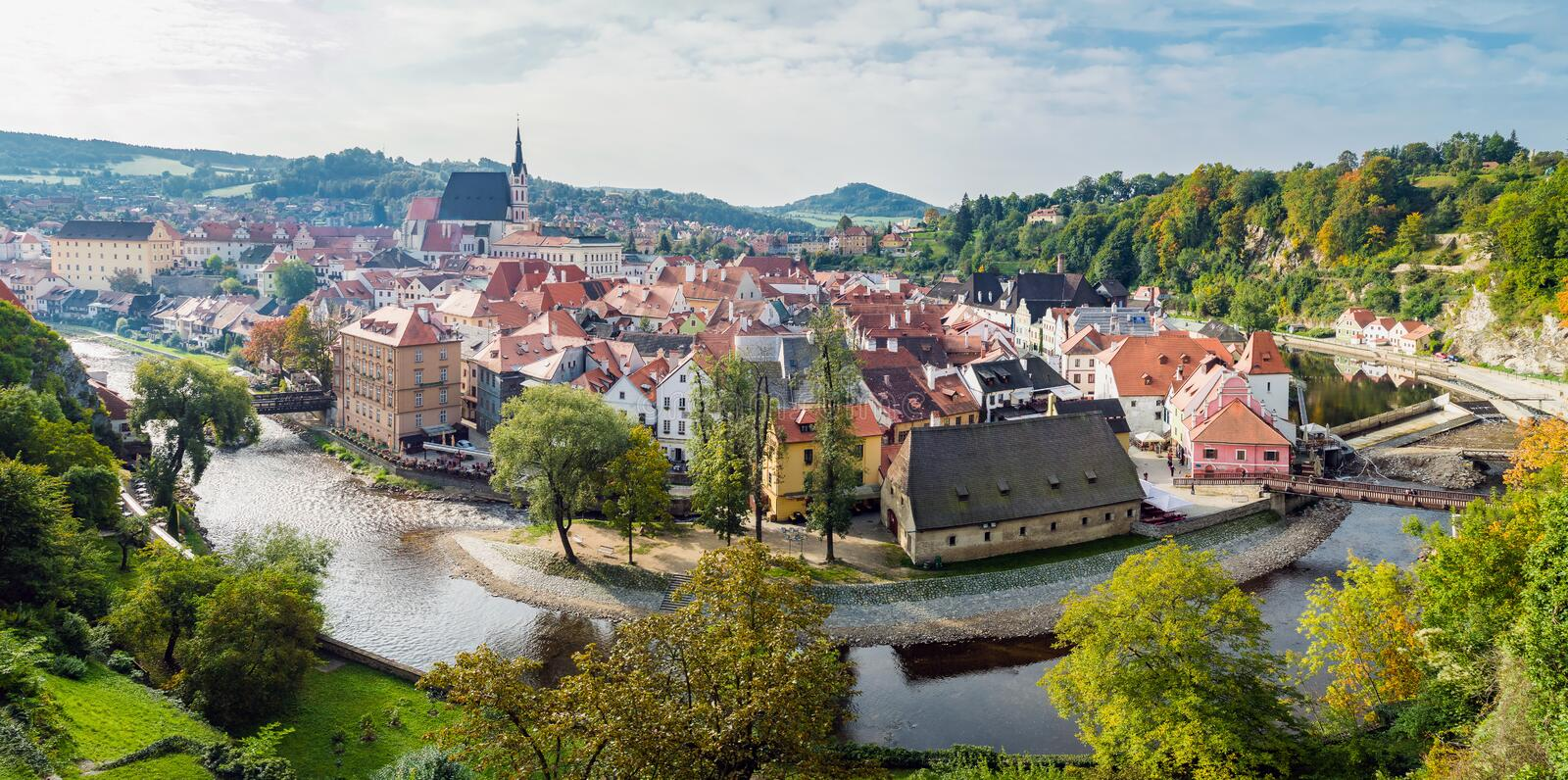 Panoramic aerial view over the old Town of Cesky Krumlov stock image