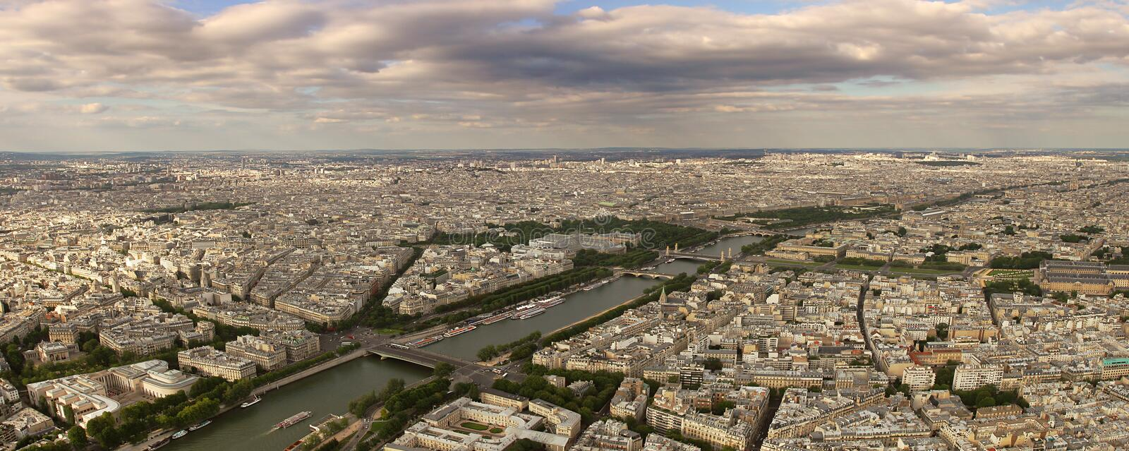 Download Panoramic Aerial View On Paris And Seine River. Royalty Free Stock Images - Image: 13257599