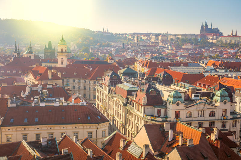 Panoramic Aerial view of Prague city with red rooftops. Beautiful old city center, Czech Republic, European travel royalty free stock photos