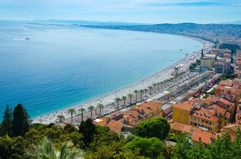 Panoramic aerial view of public beach in Nice in a beautiful summer day stock images