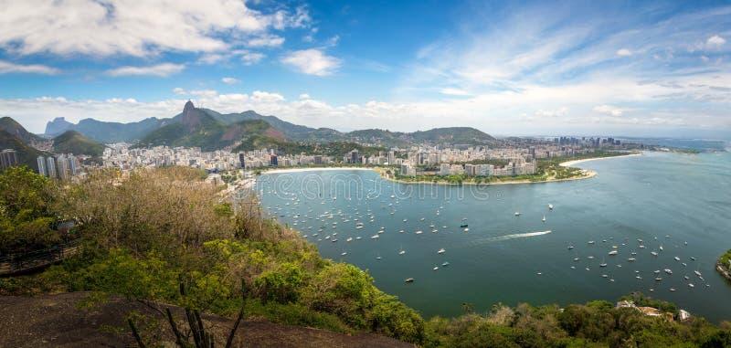Panoramic aerial view of Rio de Janeiro and Guanabara Bay with Corcovado Mountain - Rio de Janeiro, Brazil royalty free stock photo