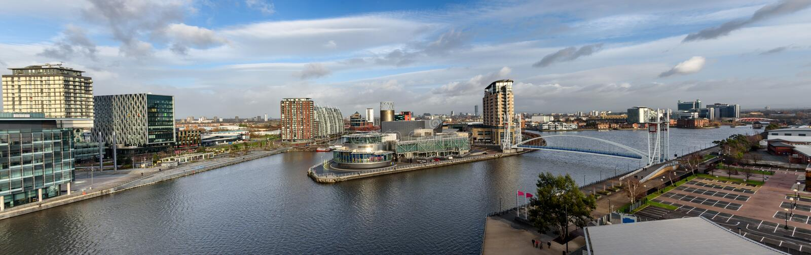 Panoramic view Salford Quay Manchester UK royalty free stock image