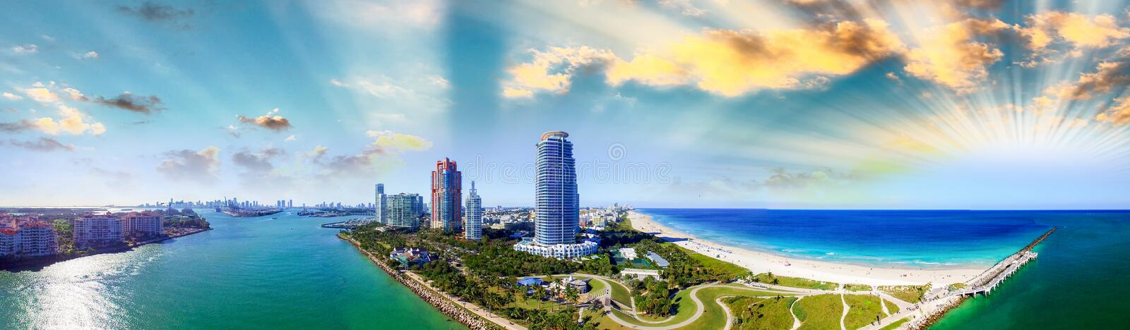 Panoramic aerial view of South Pointe Beach in Miami stock image