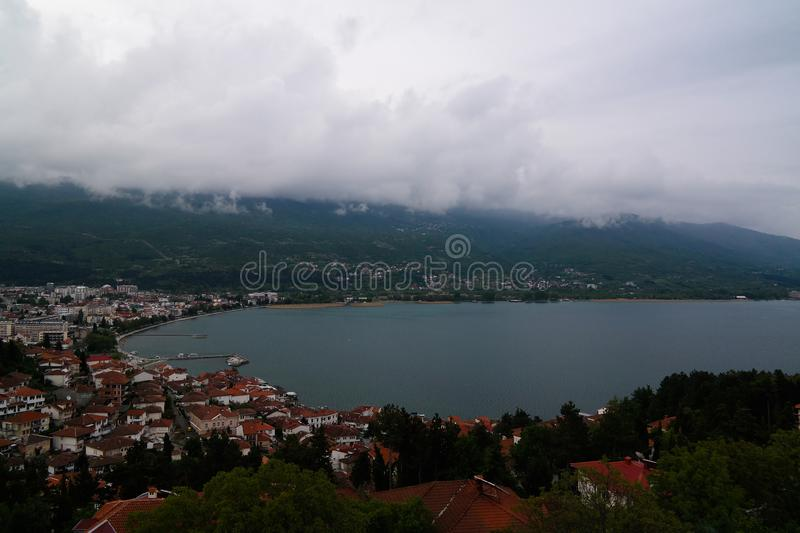 Panoramic aerial view to Ohrid lake and city from Samuels Fortress, North Macedonia stock photography