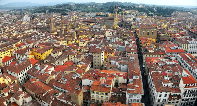 Panoramic Aerial view from the top of Florence cathedral in Florence Italy stock photos