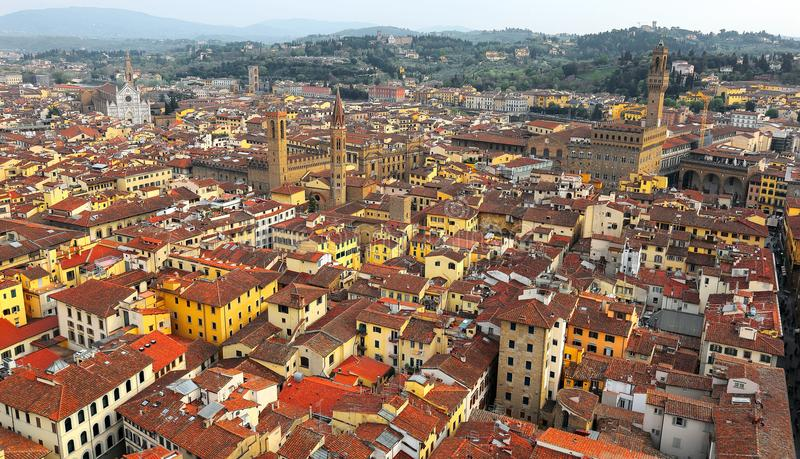 Panoramic Aerial view from the top of Florence cathedral in Florence Italy royalty free stock photo