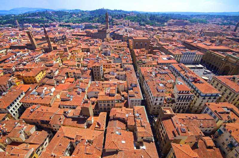 Panoramic Aerial view from the top of Florence cathedral royalty free stock images