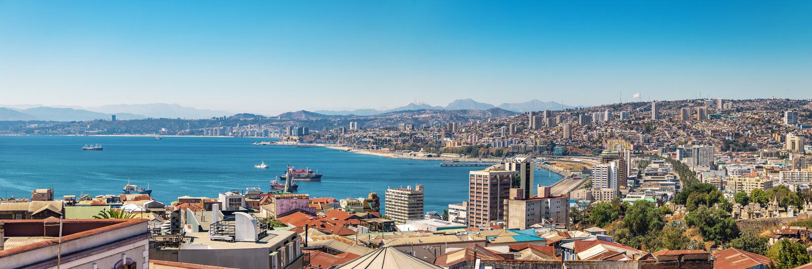 Panoramic aerial view of Valparaiso from Cerro Alegre Hill - Valparaiso, Chile royalty free stock images