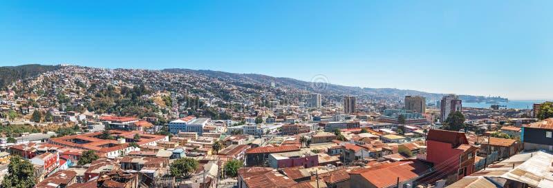 Panoramic aerial view of Valparaiso from Cerro Polanco Hill - Valparaiso, Chile royalty free stock photography