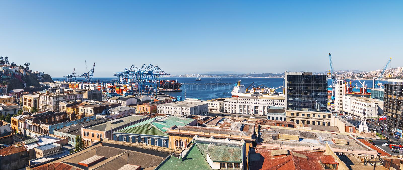 Panoramic aerial view of Valparaiso Harbor from Cerro Cordillera Hill - Valparaiso, Chile stock photography