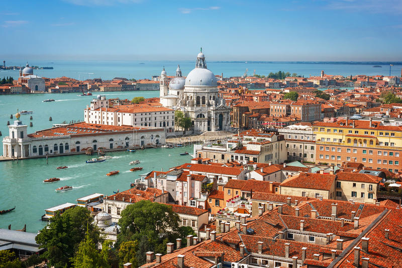 Panoramic aerial view of Venice stock images