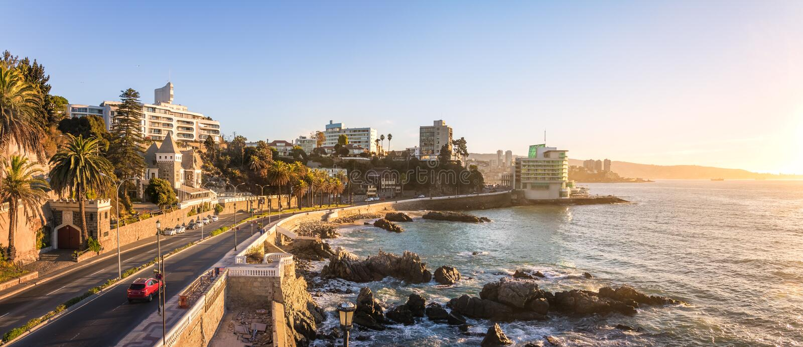 Panoramic aerial view of Vina del Mar skyline at sunset - Vina del Mar, Chile royalty free stock image