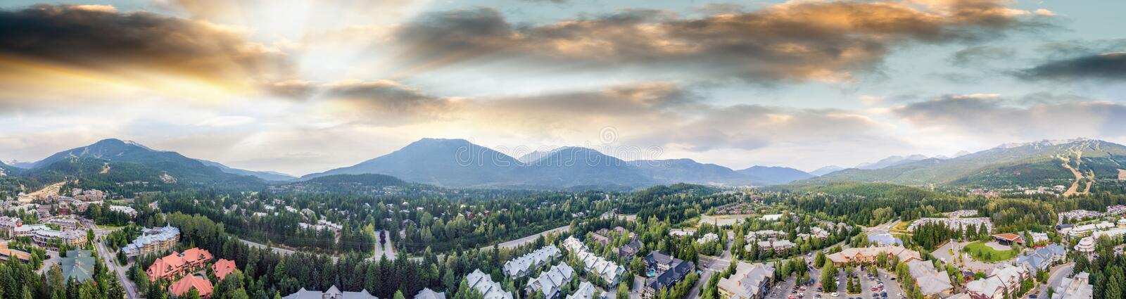 Panoramic aerial view of Whistler skyline and surrounding mountain scenario in summer royalty free stock image