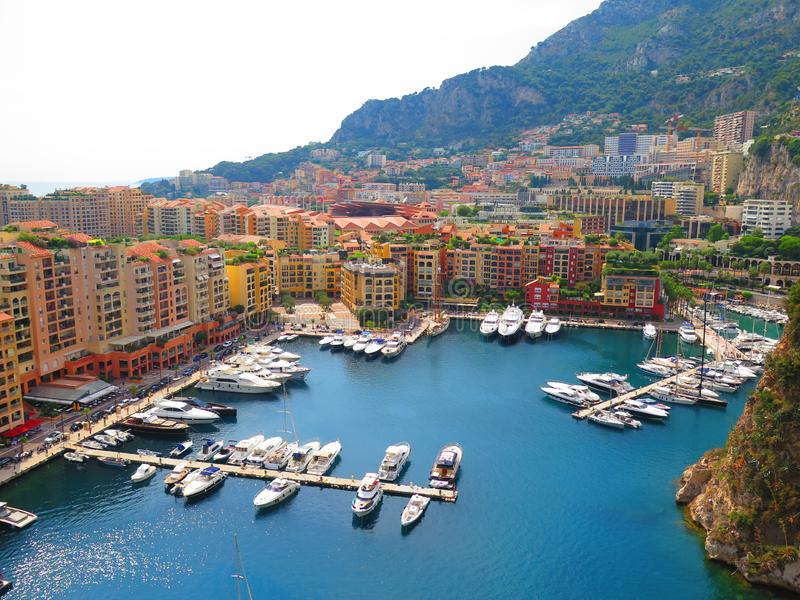 Panoramic aerial view of the yacht pier in Monte Carlo, Monaco. Azur coast. stock photography