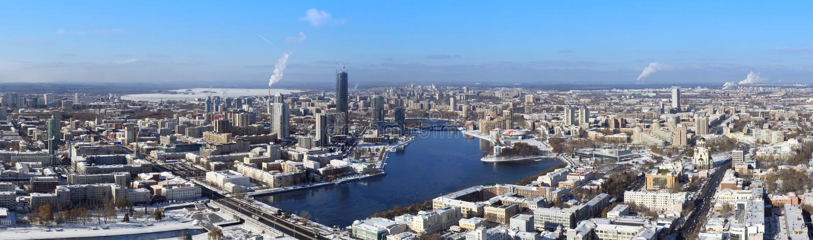 Panoramic aerial view of Yekaterinburg, Russia. Panoramic aerial view of Yekaterinburg in winter, Russia stock images