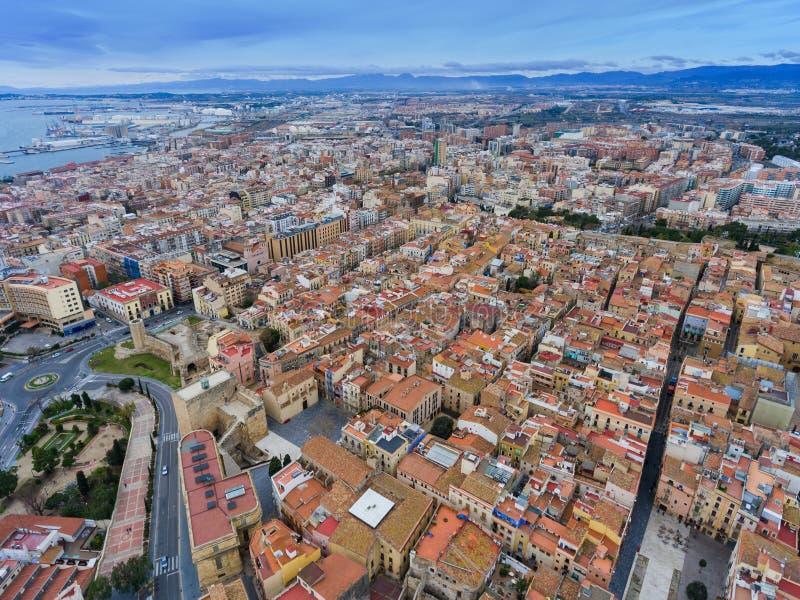 Panoramic air view of Tarragona.  royalty free stock photos