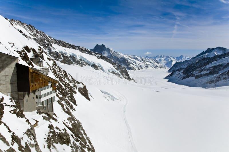Panoramic Alpine glacier view at Jungfraujoch, Switzerland stock photos