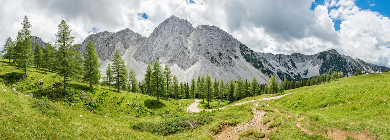 Panoramic Alpine Landscape in Austria royalty free stock image