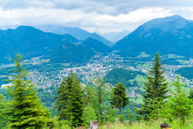View of peaks over Bad Ischl, Austria from Katrin mountain. Panoramic alpine view of peaks over Bad Ischl, Austria from Katrin mountain stock photos