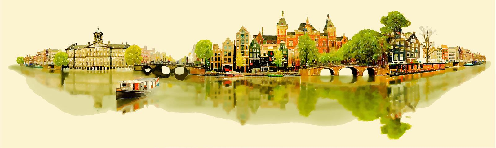 Panoramic amsterdam view. Vector water color illustration panoramic amsterdam view stock illustration