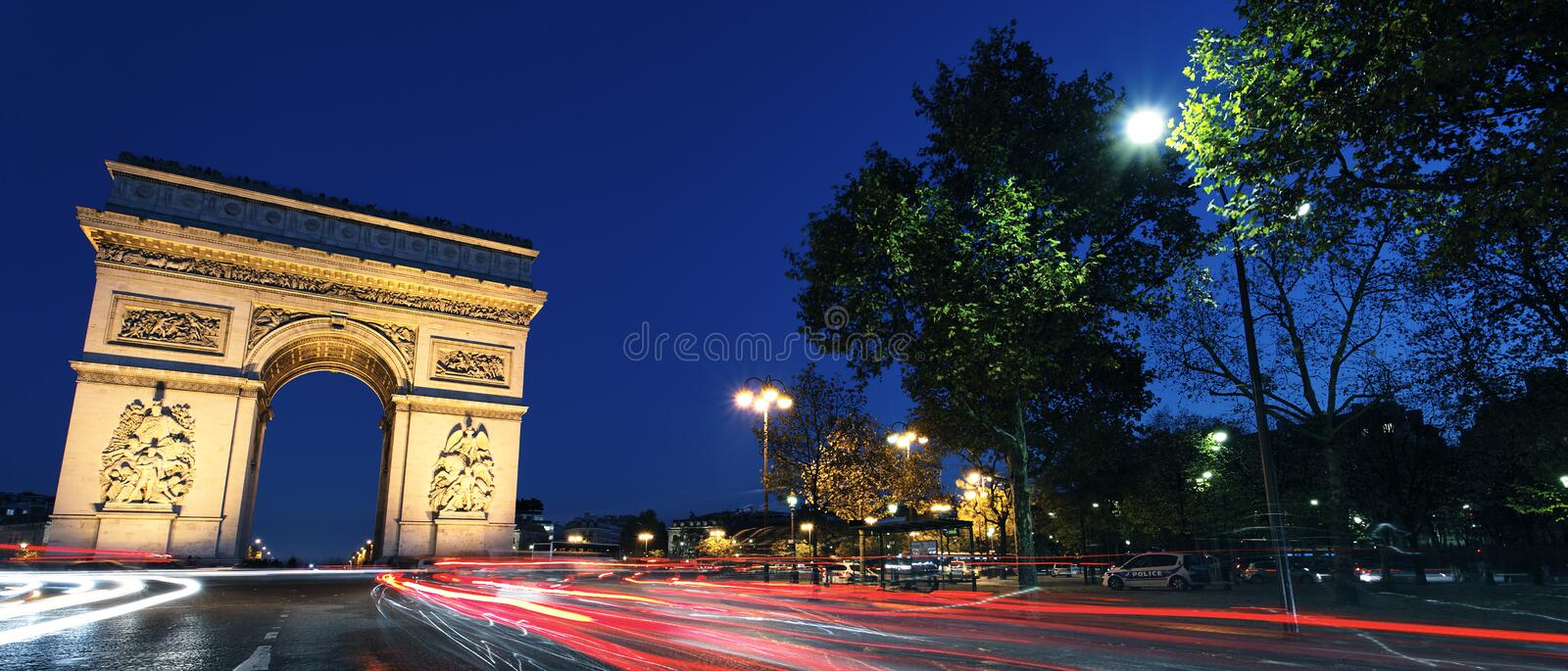 Download Panoramic Arc De Triomphe By Night Stock Photo - Image: 23552400