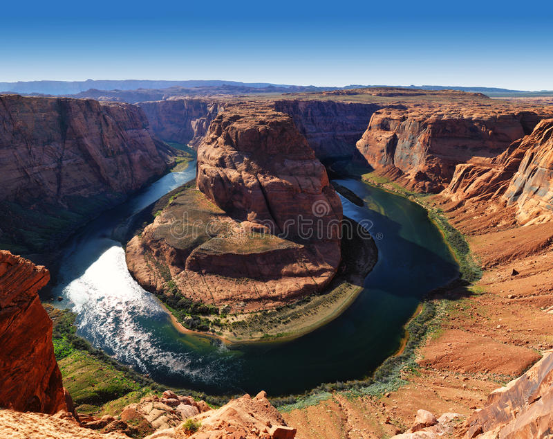 Panoramic of Arizona Horseshoe Bend meander of Colorado River stock photo