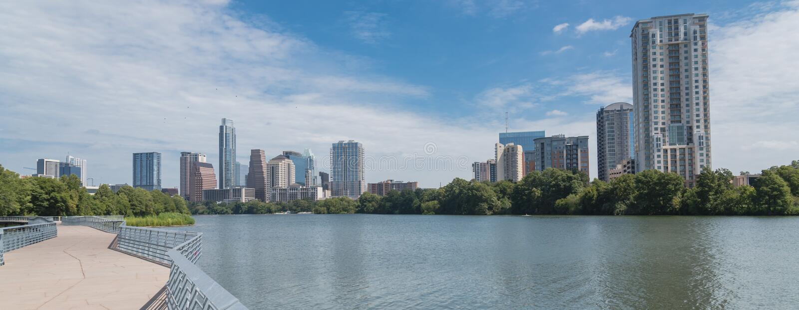 Panoramic Austin downtown skyscraper from boardwalk along Colora royalty free stock image