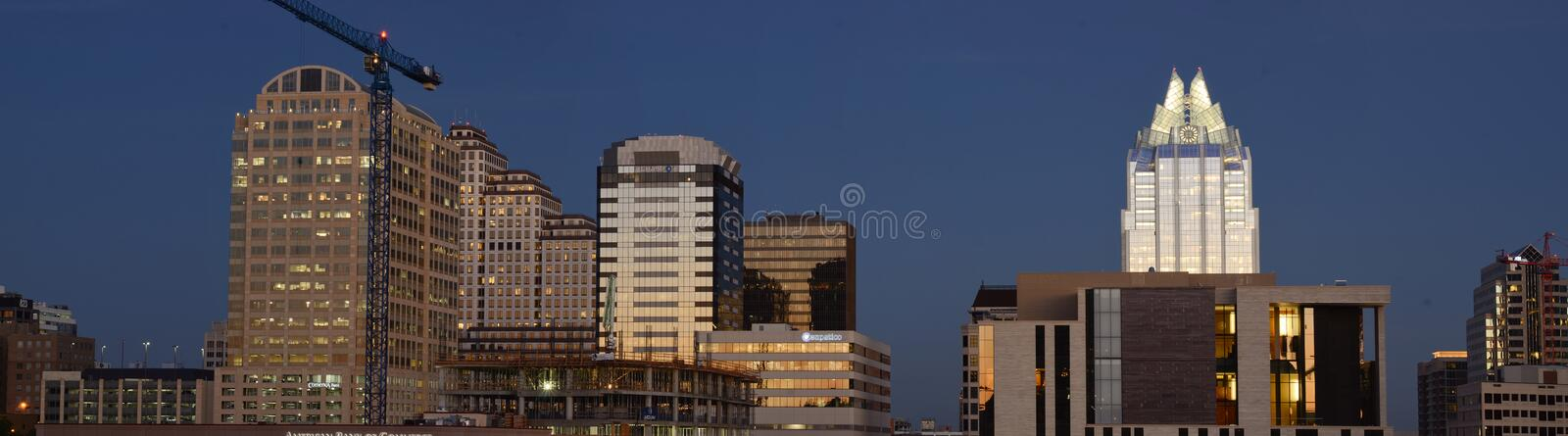 Panoramic Austin by night royalty free stock photography