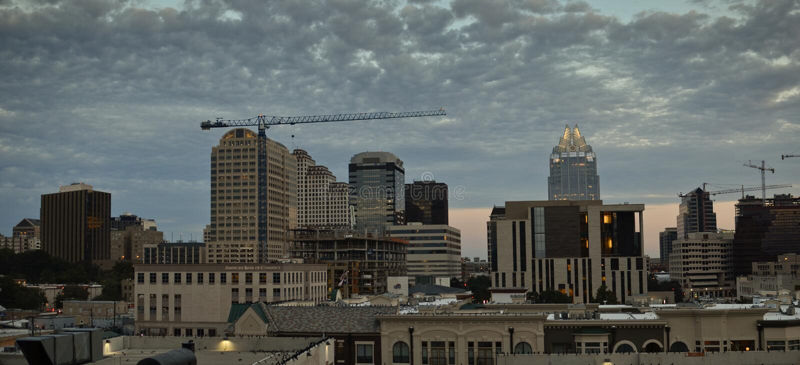 Panoramic Austin during sunset stock images