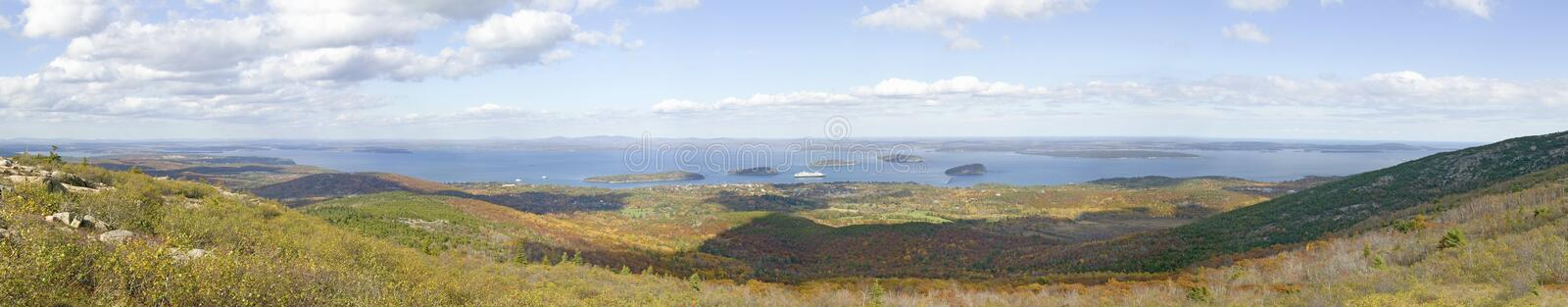 Panoramic autumn view from 1530 foot high Cadillac Mountain with views of the Porcupine Islands, Frenchman Bay and Holland America stock photos